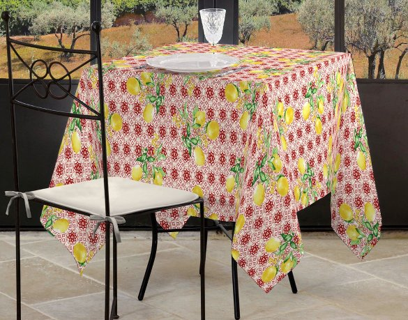 French Tablecloths Coated Jacquard Or
